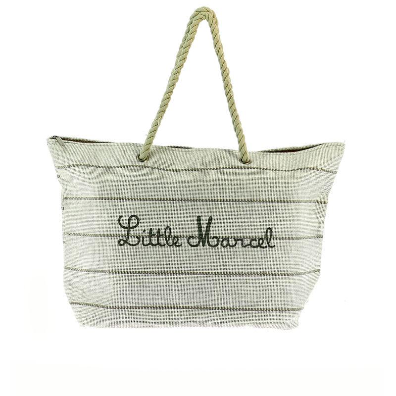 Little Marcel Beige Canvas Stripe Beach Bag OuiPlease OuiShop