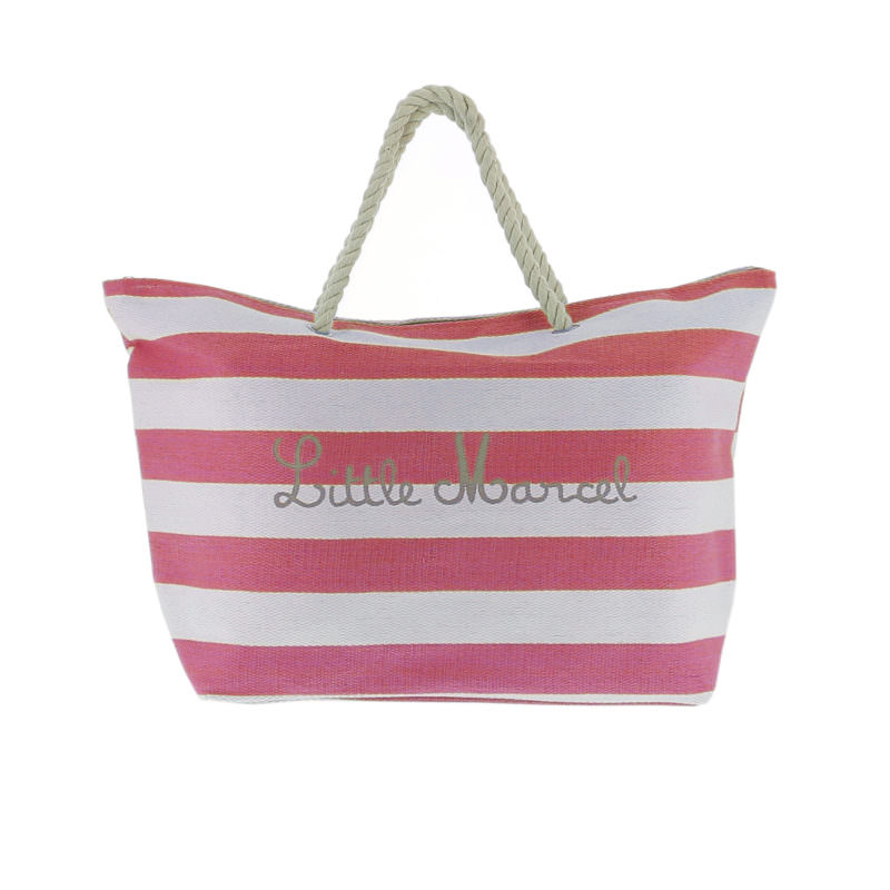 Little Marcel Red White Stripe Canvas Beach Bag OuiPlease OuiShop