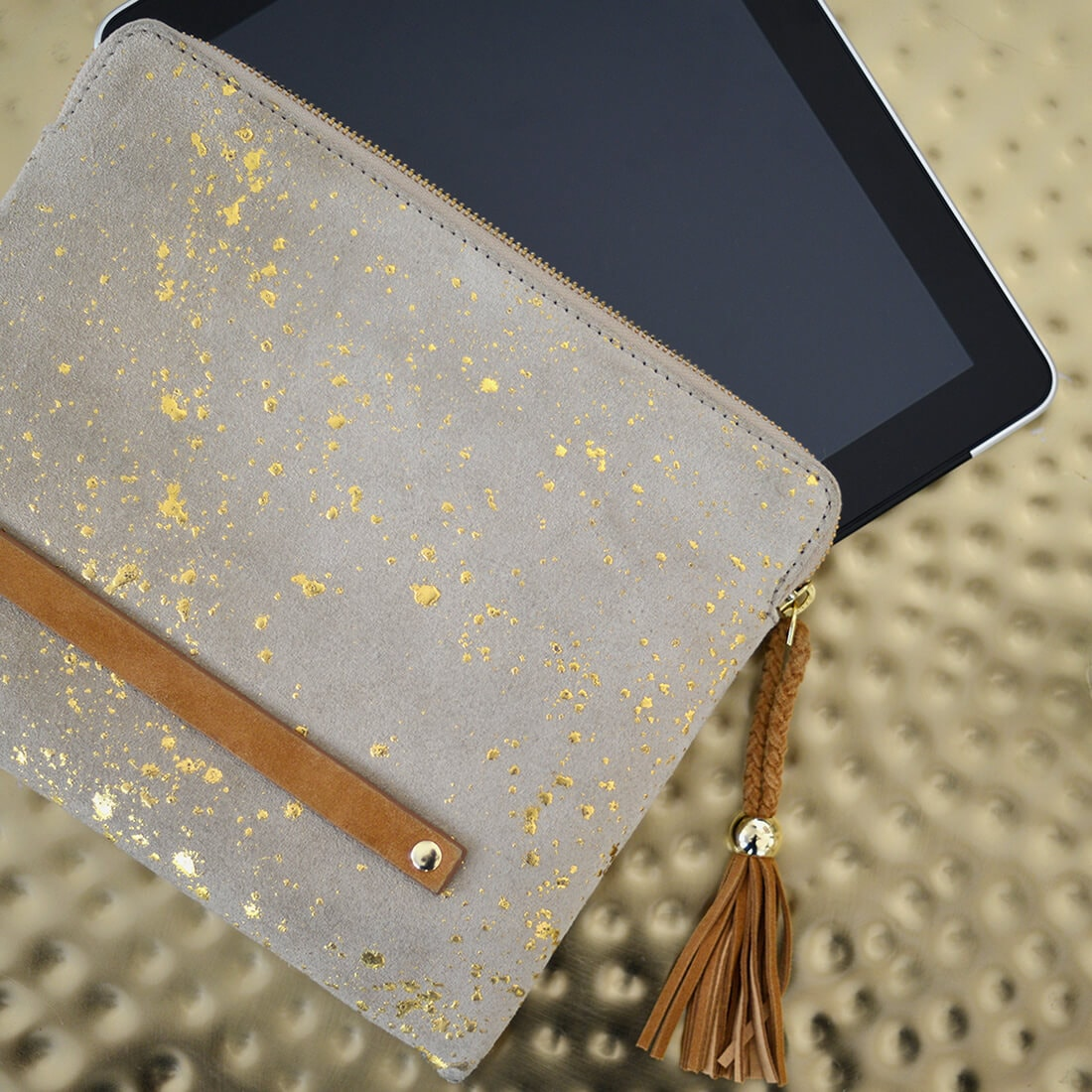Maradji Suede Leather Clutch OuiPlease OuiShop French Accessories