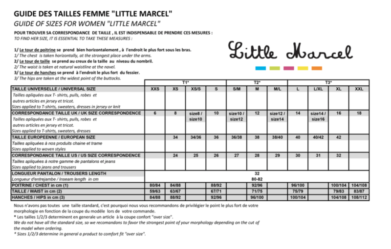 Little Marcel Size Chart OuiPlease OuiShop