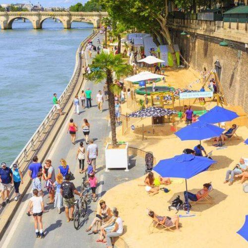 Paris Plages, Umbrellas, Sunbathers, River