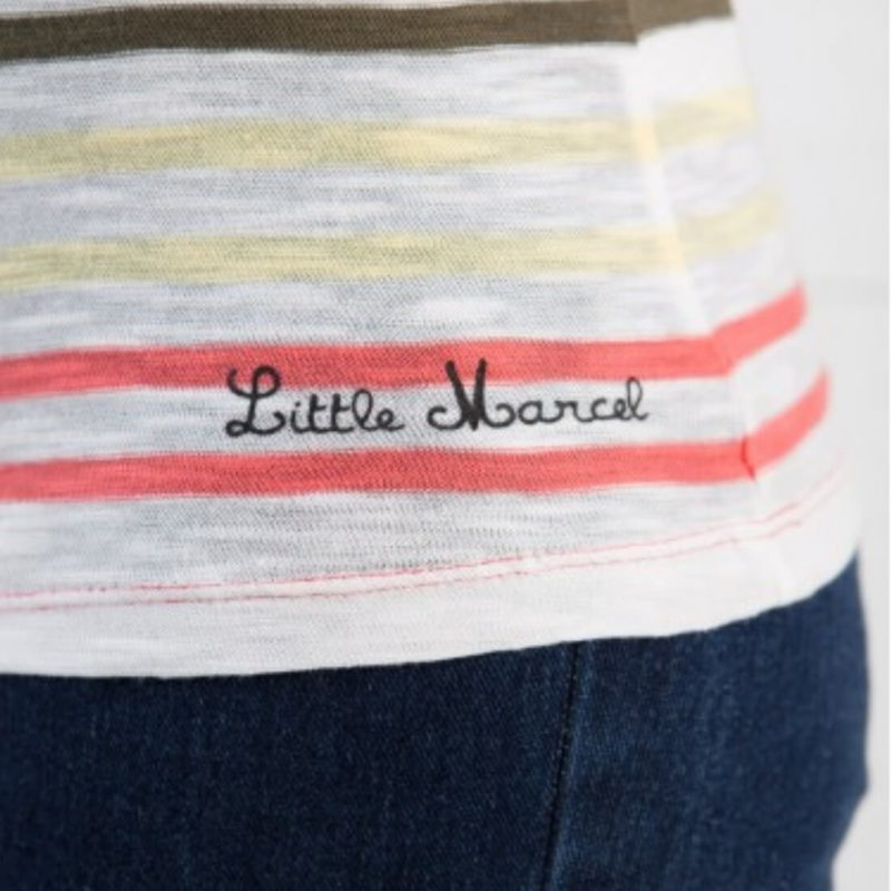 Little Marcel Lina Striped V-Neck Tee Logo Detail OuiPlease Women's Online Store
