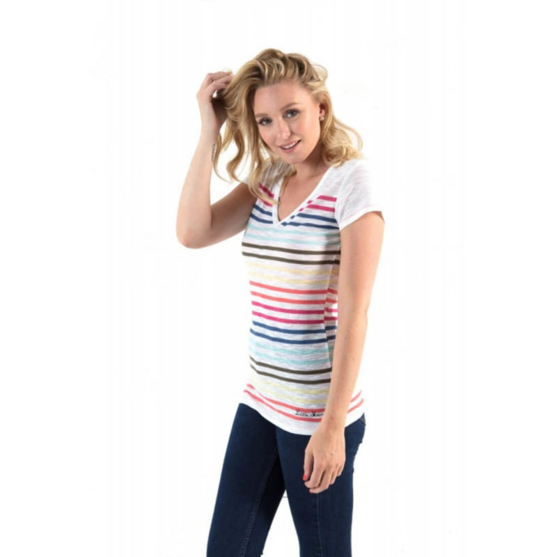 women wearing Little Marcel Lina Striped V-Neck Tee OuiPlease Women's Online Store front