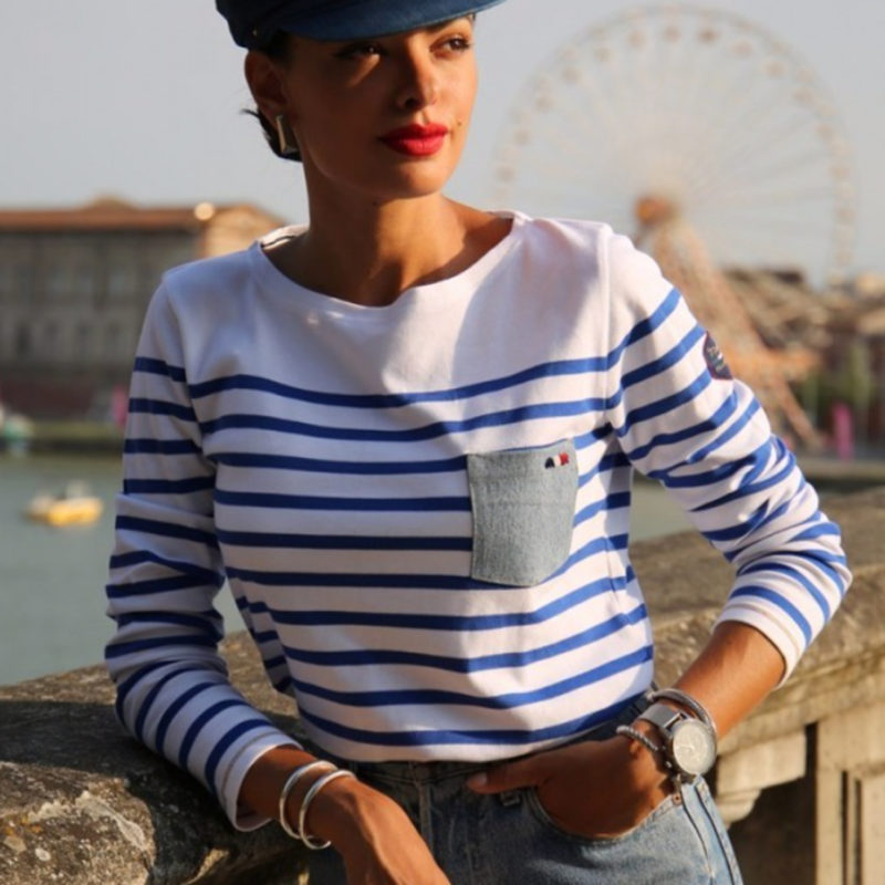 La Marinière Française Camille Striped Denim Patch Tee