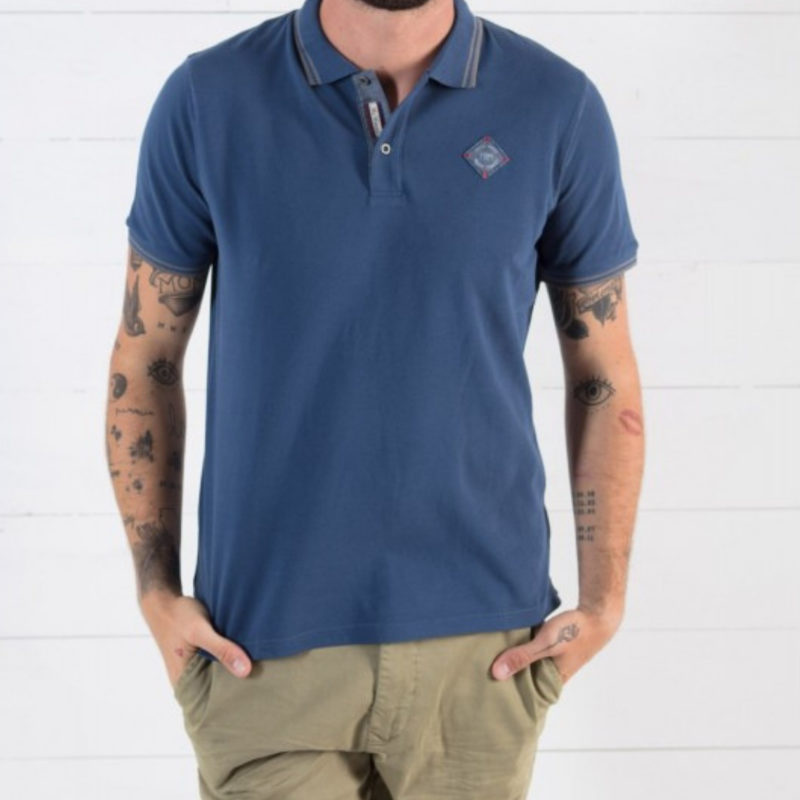Men wearing Mr. Marcel Padir Men's Denim Polo Tee OuiPlease Homme Online Store full shirt