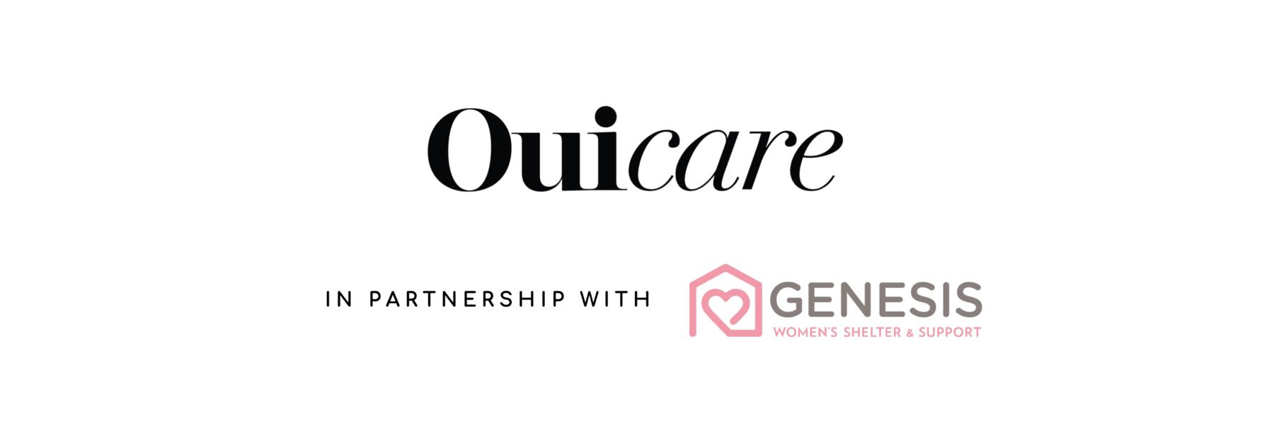 OUIPLEASE OUICARE GENESIS WOMEN'S SHELTER PARTNERSHIP logos