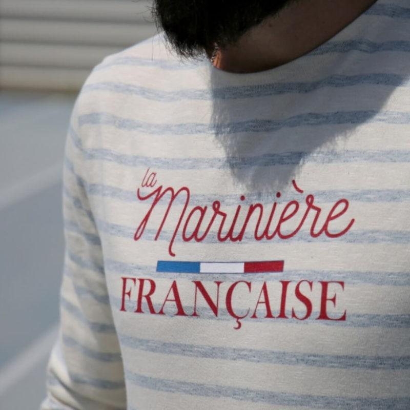 men wearing La Marinière Française Paul Men's Long Sleeve Striped Tee OuiPlease Homme Men's Shop front logo close up