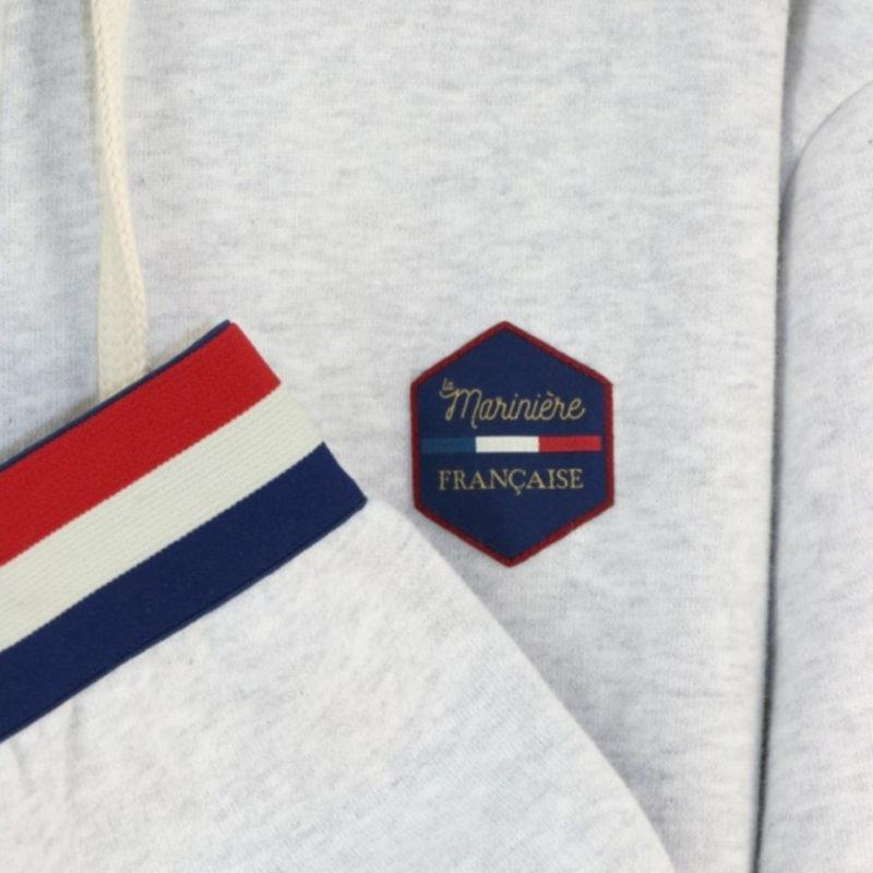 logo close up La Marinière Française Albert Men's Grey Zip Hoodie OuiPlease Homme Men's Shop and sleeve