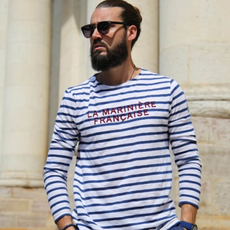 Men wearing La Marinière Française Antoine Men's Long Sleeve Striped Tee OuiPlease Homme Men's Shop close up