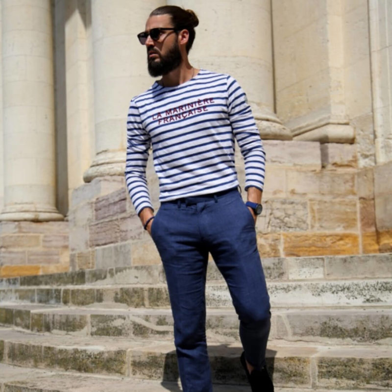 Men wearing La Marinière Française Antoine Men's Long Sleeve Striped Tee OuiPlease Homme Men's Shop