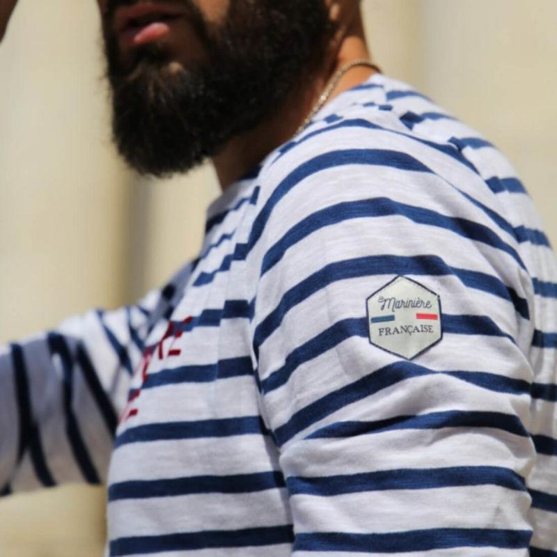 Men wearing La Marinière Française Antoine Men's Long Sleeve Striped Tee OuiPlease Homme Men's Shop side close up