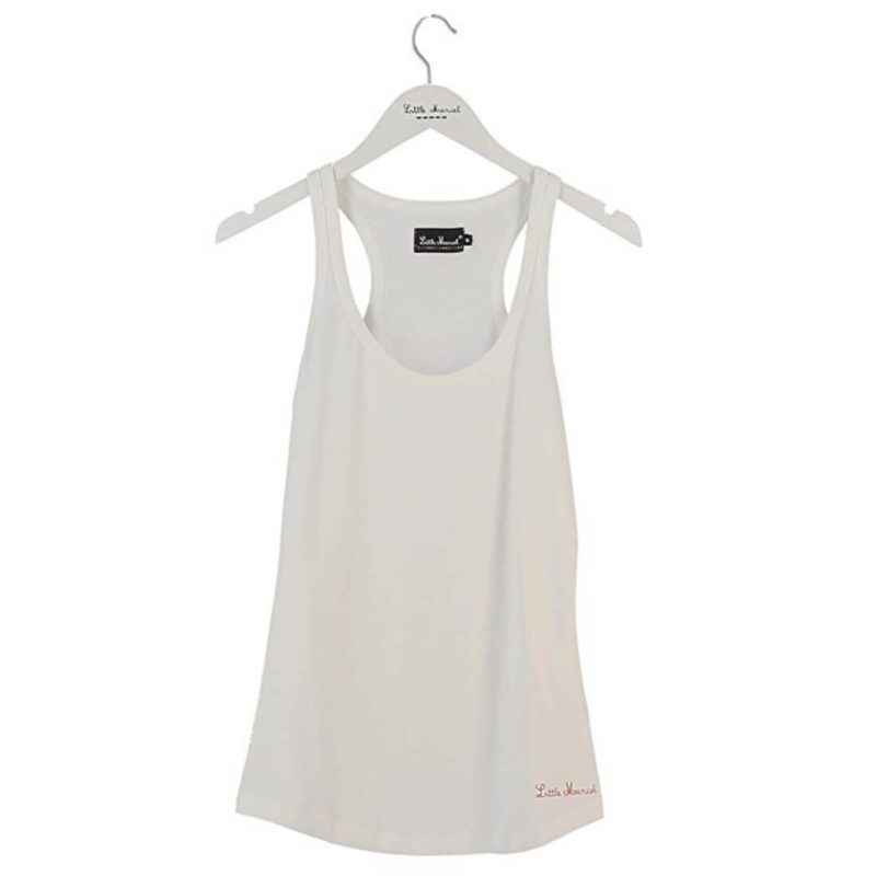 Little Marcel Defal Racerback Tank Blanc OuiPlease women's online shop white background