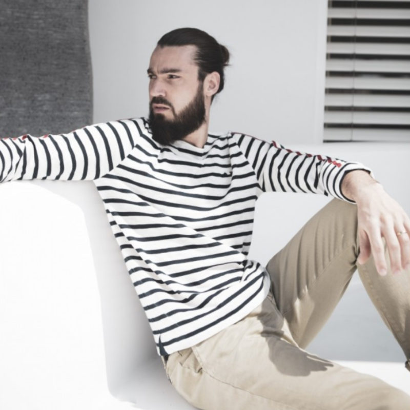 Men wearing La Marinière Française Emile Men's Long Sleeve Striped Tee OuiPlease Homme Men's Shop full image
