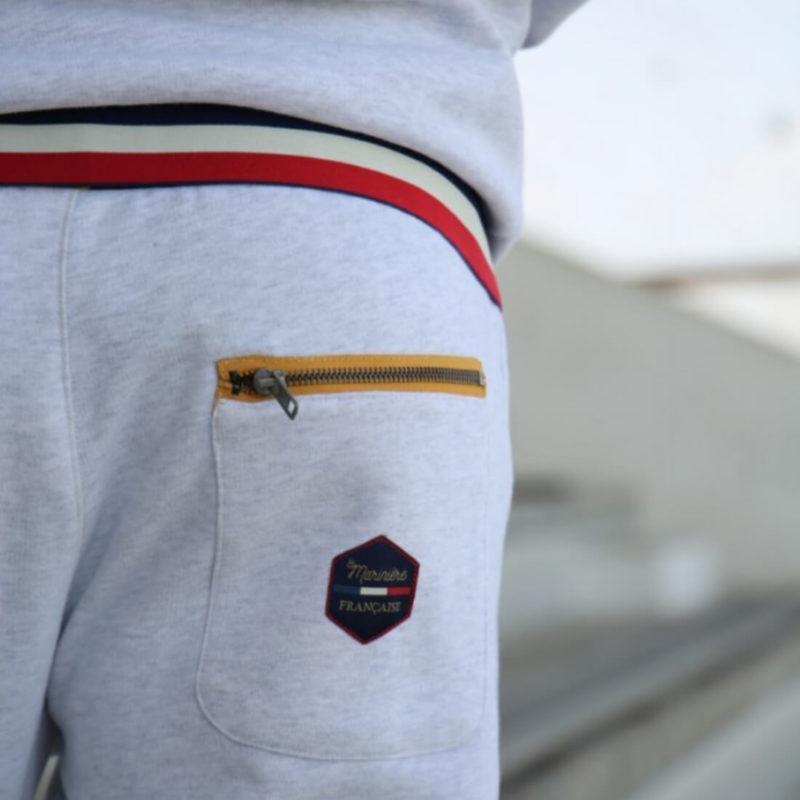 Men wearing La Marinière Française Germain Men's Grey Sweatpants OuiPlease Homme back pocket close up