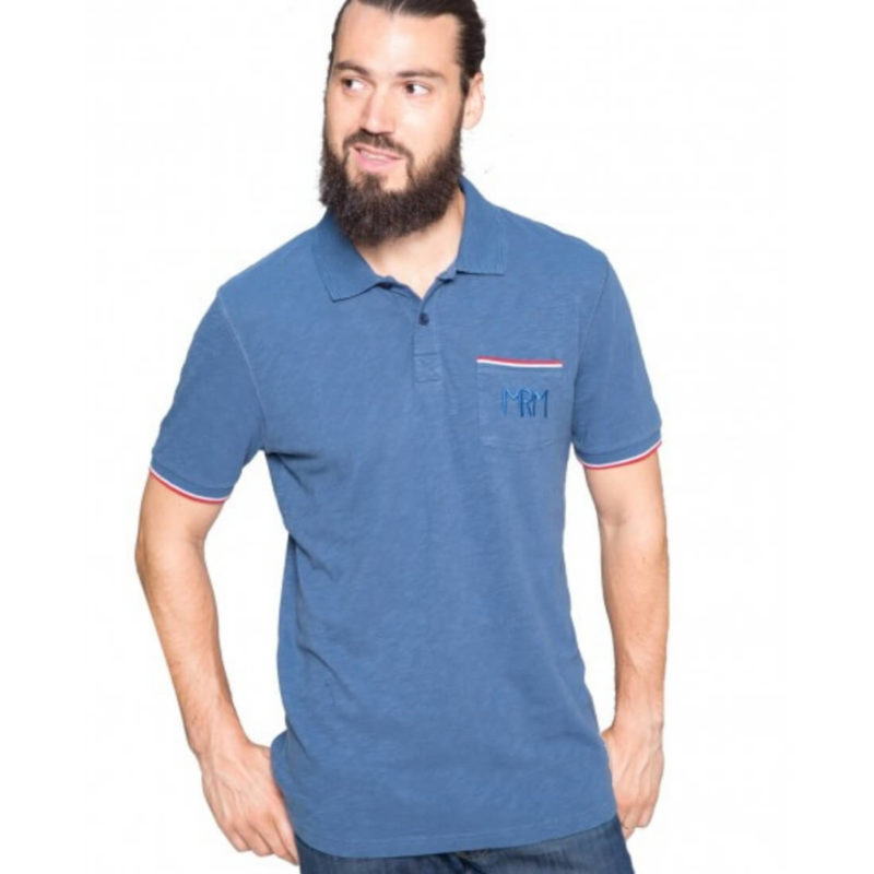 MEN wearing Mr. Marcel Pedro Men's Denim Polo Tee OuiPlease Homme Men's Online Store full body