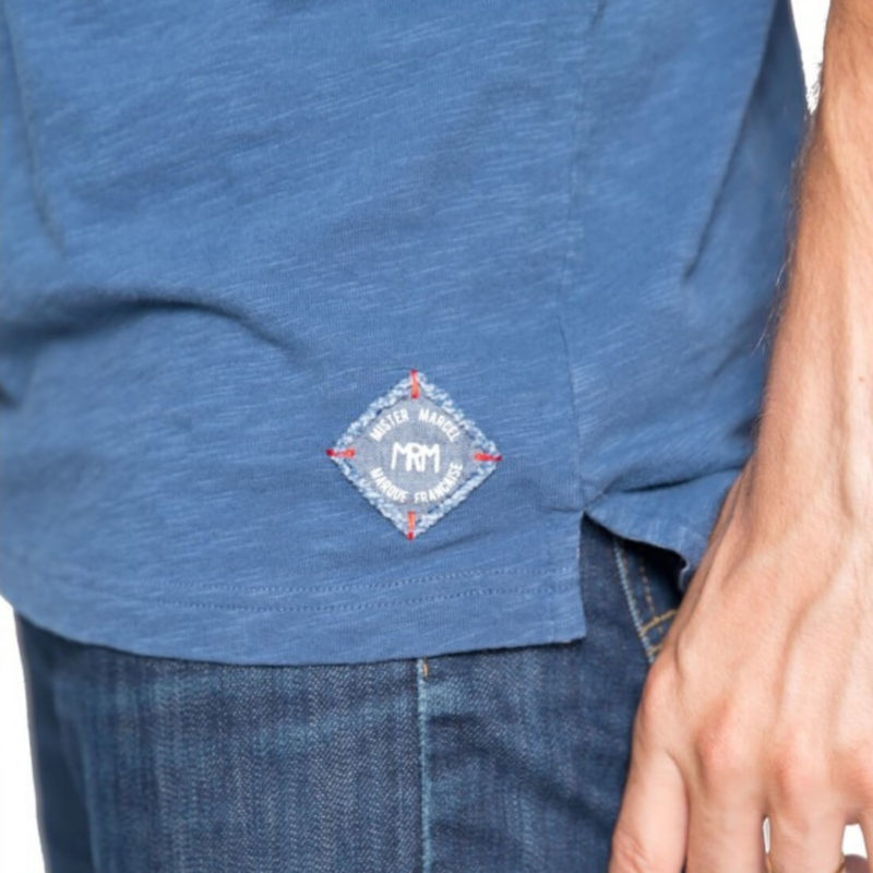 Mr. Marcel Pedro Men's Denim Polo Tee Patch Detail OuiPlease Homme Men's Online Store