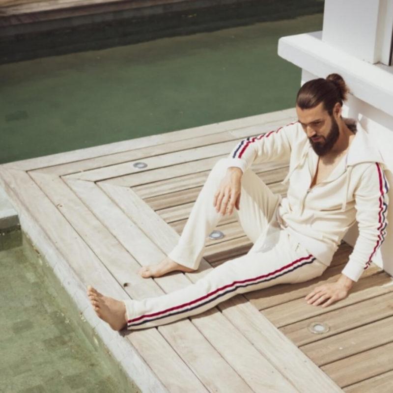 Men wearing La Marinière Française Rene Men's Lounge Pants OuiPlease Homme Men's Shop bottom