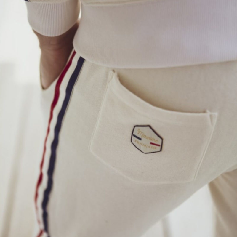 Men wearing La Marinière Française Rene Men's Lounge Pants OuiPlease Homme Men's Shop back pocket close up