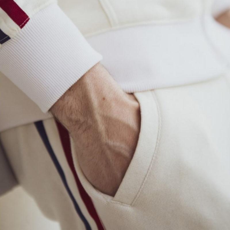 Men wearing La Marinière Française Rene Men's Lounge Pants OuiPlease Homme Men's Shop sleeve close up