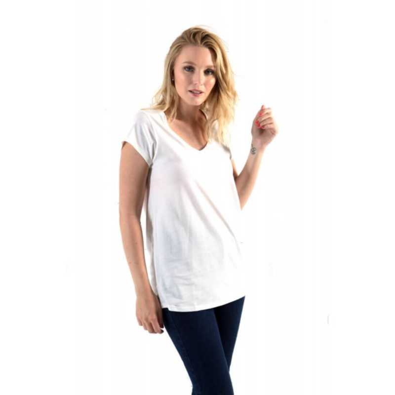 woman wearing Little Marcel Tasim V-Neck Tee white OuiPlease Women's Online Store full image