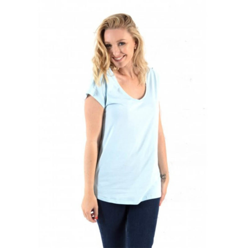 woman wearing Little Marcel Tasim V-neck tee ciel OuiPlease Women's Online Store front