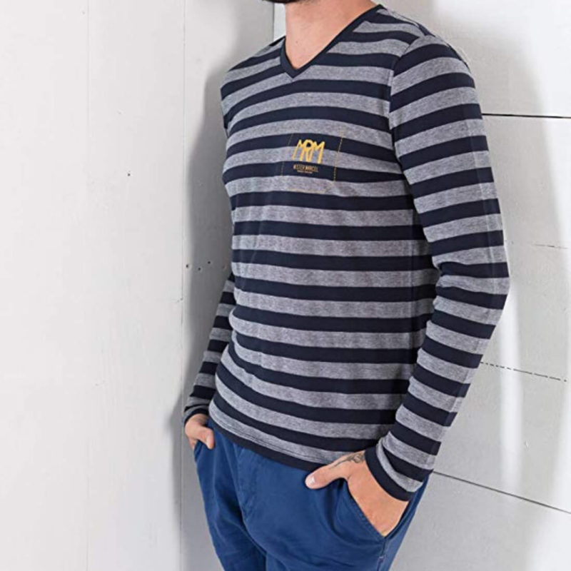 Man Wearing Mr. Marcel Tegi Men's Striped Tee OuiPlease Homme Men's Online Store