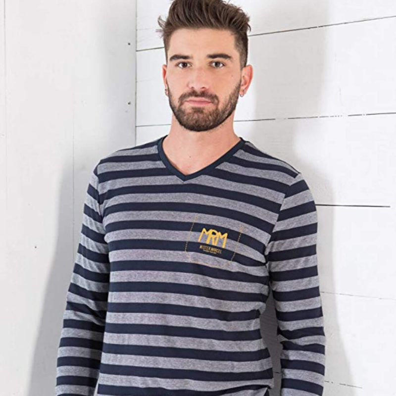 Man Wearing Grey & Black Striped T-shirt