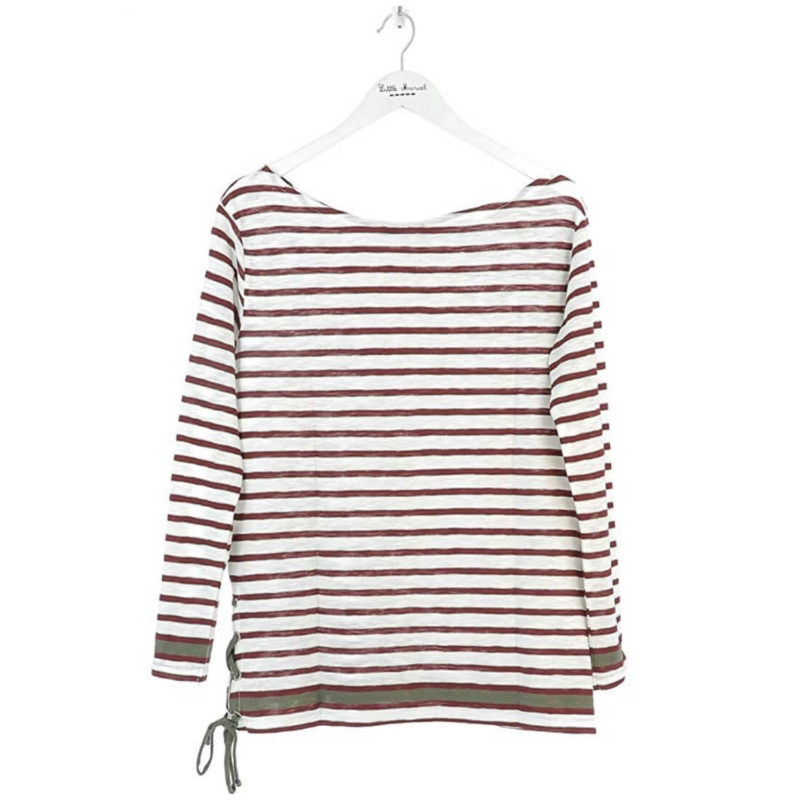 Little Marcel Tibalt Striped Tee Bordeaux white background