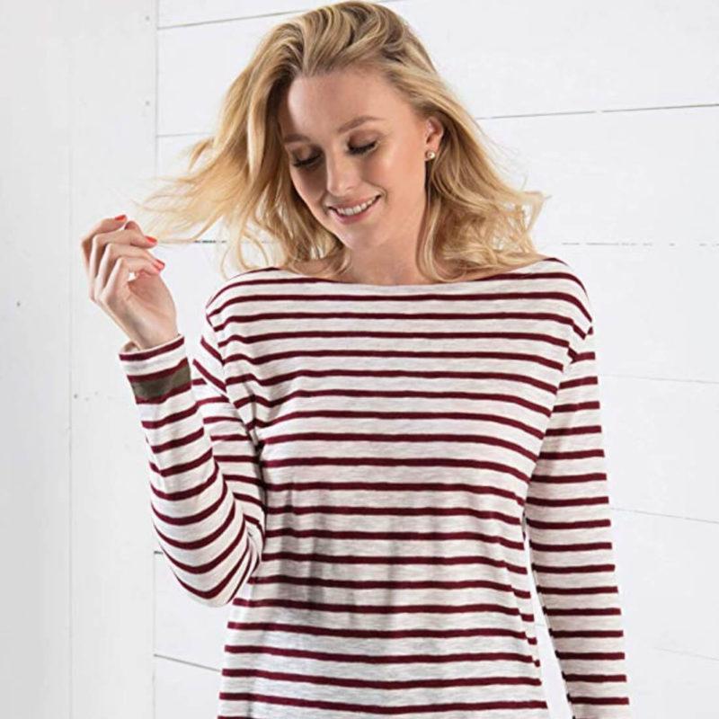 Woman Wearing Little Marcel Tibalt Striped Tee Bordeaux OuiPlease Women's Online Store