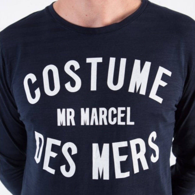 men wearing Mr. Marcel Navy Long Sleeve Tee OuiPlease Homme Men's Online Store logo close up front
