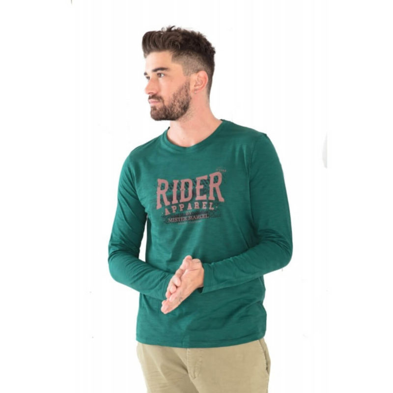 men wearing Mr. Marcel Green Long Sleeve Tee OuiPlease Homme Men's Online Store full