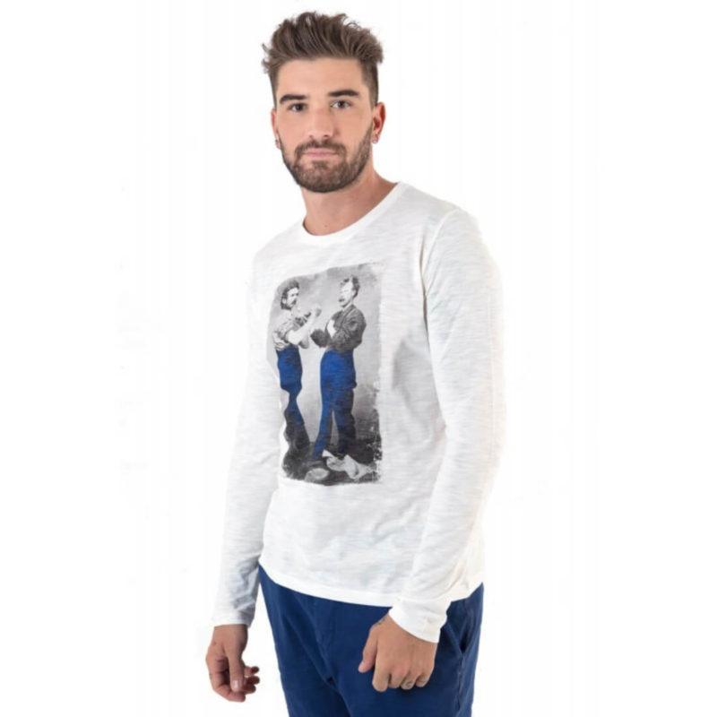 men wearing Mr. Marcel Ticos Men's White Long Sleeve Tee OuiPlease Homme Men's Online Store full shot
