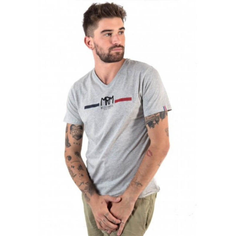 Man in Grey Logo T-shirt White Background