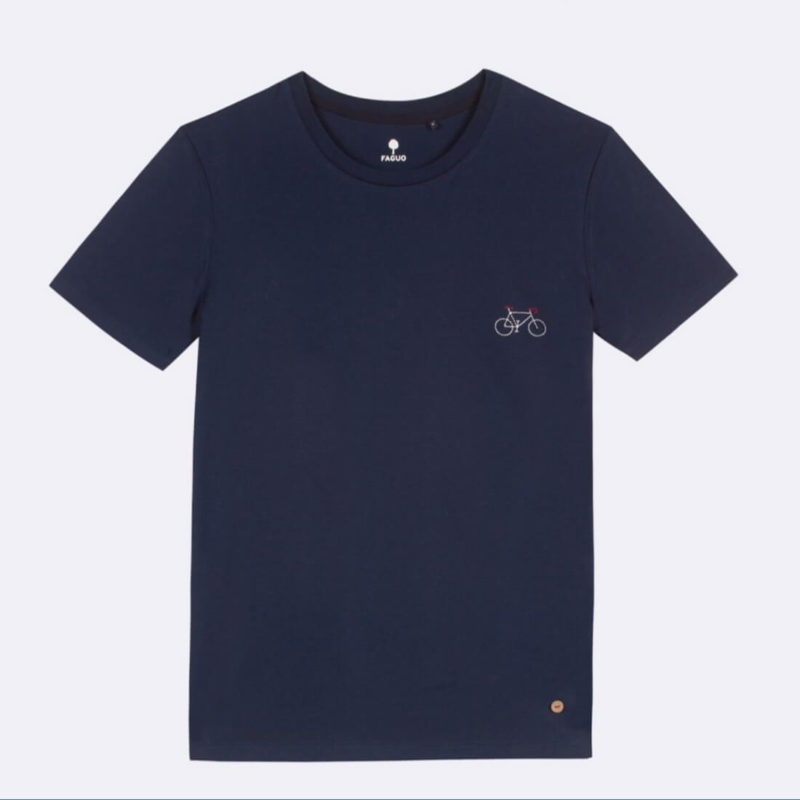 FAGUO Arcy Men's Navy Blue T-Shirt close up