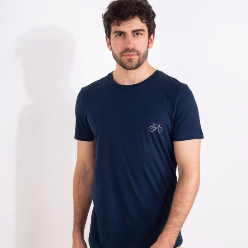 Man wearing FAGUO Arcy Men's Navy Blue T-Shirt bike embroidery right side