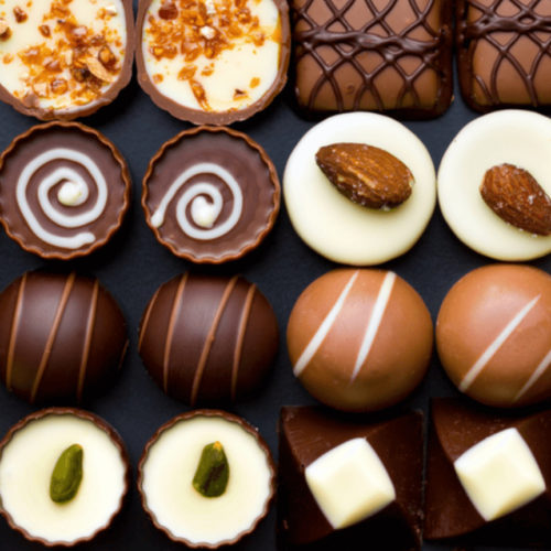 ROW OF FRENCH CHOCOLATES