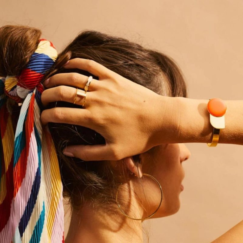 Bangle Up Paris Arty Gold Cuff Tangerine OuiPlease French Online Shop woman wearing bracelet