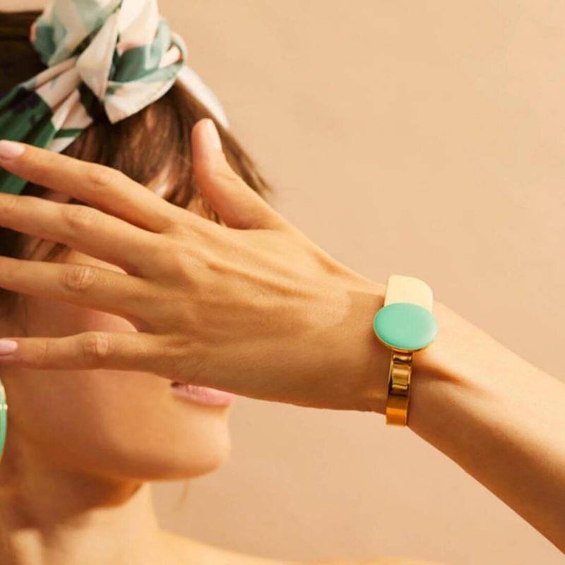 Bangle Up Paris Arty Gold Cuff Green Opal OuiPlease French Online shop woman wearing bracelet