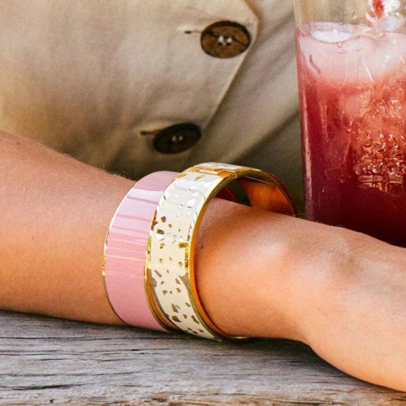 Bangle Up Paris 2m Gold Cuff Powder Pink OuiPlease French Online Shop women wearing two bracelets