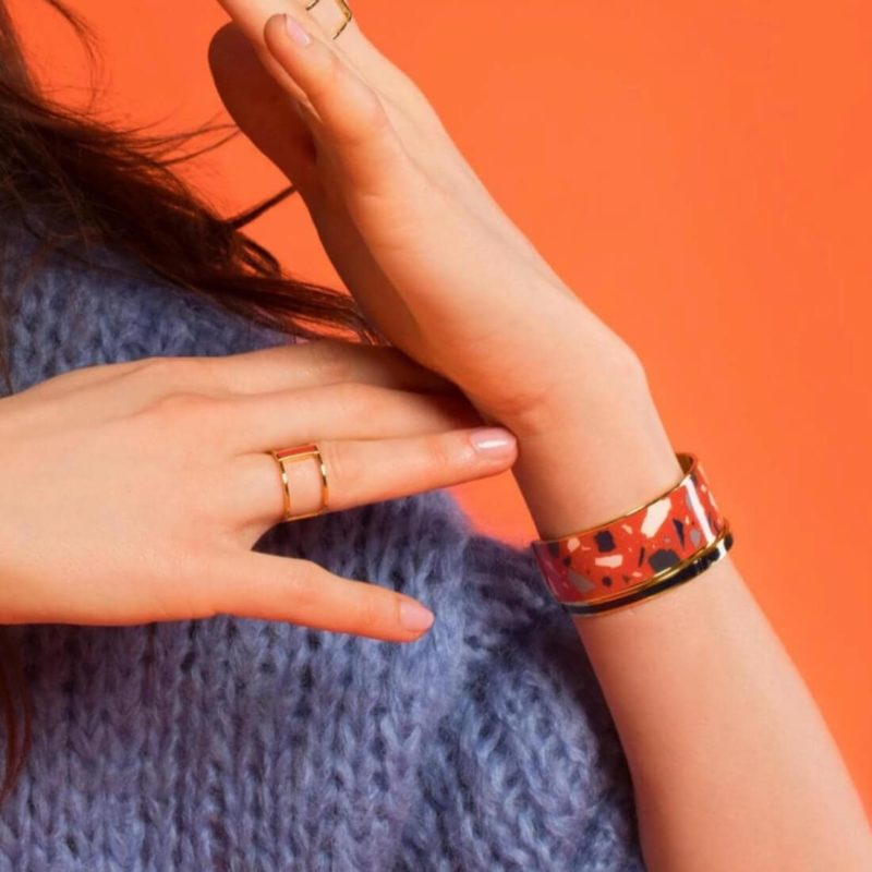 Bangle Up Paris Terazzo Cuff Paprika OuiPlease French Online Shop women wearing bracelet and a ring