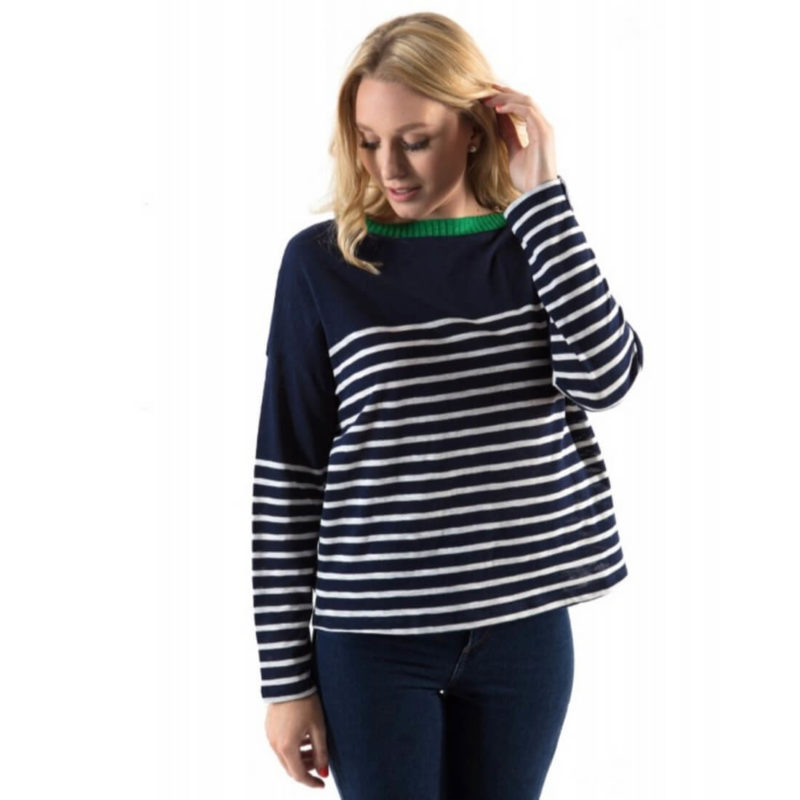 Little Marcel Tribeca Striped Navy Sweater OuiPlease French Online Store women wearing navy and green sweater