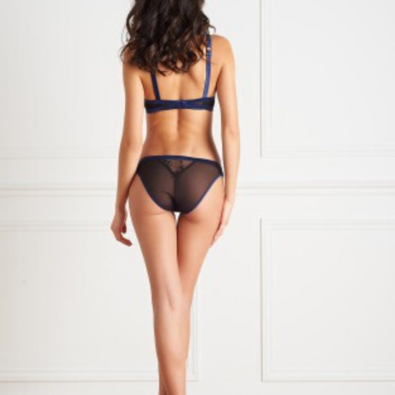 Woman wearing Maison Close Blue Lace Panty