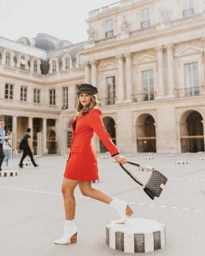 Woman swinging purse