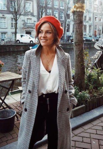Woman wearing Red Beret, Plaid Coat