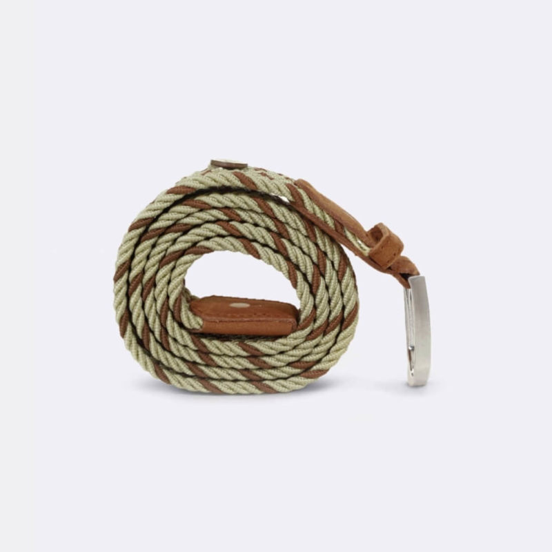 Faguo Beige Braided Belt grey background