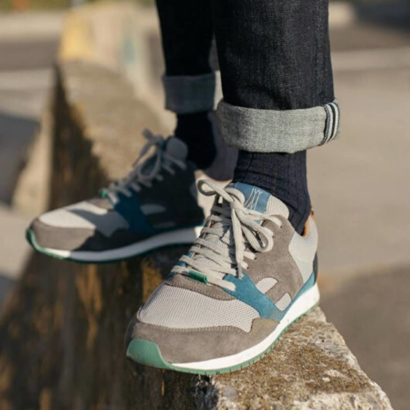 Man wearing FAGUO Grey Mesh Sneakers