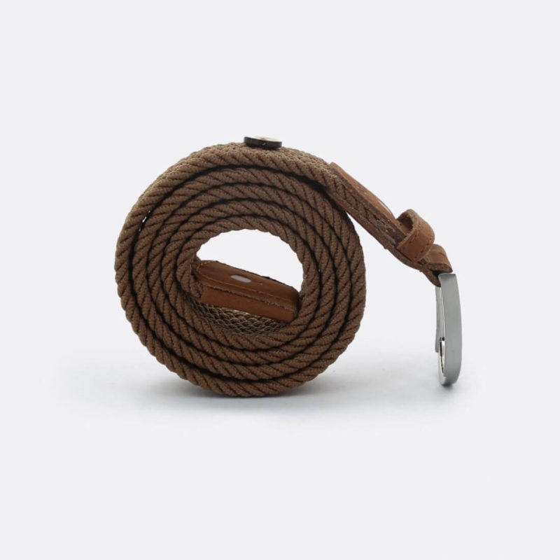 FAGUO brown braided belt grey background