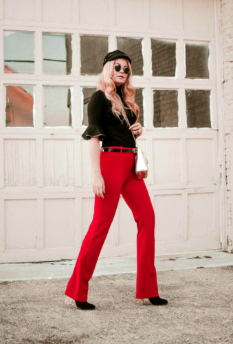 Woman, Pink Hair, Red Pants