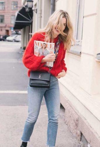 Blonde Woman Holding Vogue Magazine