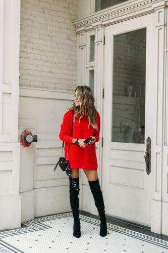 Woman wearing Red Sweater Dress